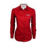Ladies Red Twill Button Down Long Sleeve-Arched Bulldog