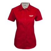 Ladies Red Twill Button Up Short Sleeve-Gardner-Webb University