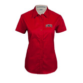 Ladies Red Twill Button Up Short Sleeve-Arched GWU