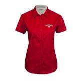 Ladies Red Twill Button Up Short Sleeve-Arched Bulldog