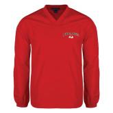 V Neck Red Raglan Windshirt-Arched Bulldog
