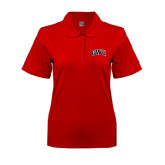 Ladies Easycare Red Pique Polo-Arched GWU