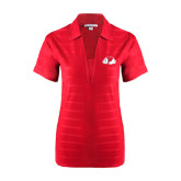 Ladies Red Horizontal Textured Polo-Bulldog