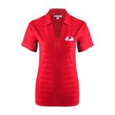 Ladies Red Horizontal Textured Polo-Bulldog