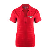 Ladies Red Horizontal Textured Polo-Arched Bulldog