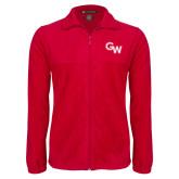 Fleece Full Zip Red Jacket-GW Primary Logo