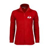 Ladies Fleece Full Zip Red Jacket-Bulldog