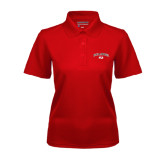 Ladies Red Dry Mesh Polo-Arched Bulldog