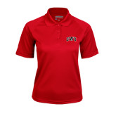 Ladies Red Textured Saddle Shoulder Polo-Arched GWU