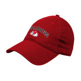 Red Twill Unstructured Low Profile Hat-Arched Bulldog