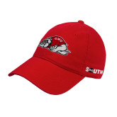 Red Twill Unstructured Low Profile Hat-Bulldog
