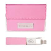 Business Card Case and Key Ring Set Pink-Gardner-Webb University Engraved