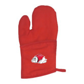 Quilted Canvas Red Oven Mitt-Bulldog