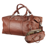 Cutter & Buck Brown Leather Weekender Duffel-Debossed