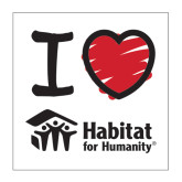 "Large Decal-I Love Habitat for Humanity, 12"" wide"