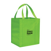 Non Woven Lime Green Grocery Tote-Every Home Stacked