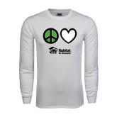 White Long Sleeve T Shirt-Peace Love Habitat