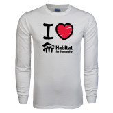 White Long Sleeve T Shirt-I Love Habitat for Humanity