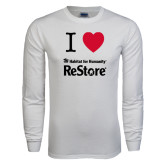 White Long Sleeve T Shirt-I Heart Restore