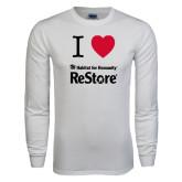 White Long Sleeve T Shirt-I Heart Restore