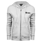 ENZA Ladies White Fleece Full Zip Hoodie-