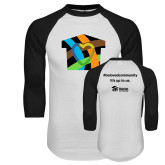 White/Black Raglan Baseball T Shirt-Beloved Community