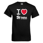 Black T Shirt-I Love Habitat for Humanity