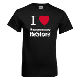 Black T Shirt-I Heart Restore