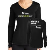 Ladies Syntrel Performance Black Longsleeve Shirt-World Habitat Day