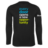 Performance Black Longsleeve Shirt-Every Door Opens A New Opportunity
