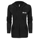 ENZA Ladies Black Light Weight Fleece Full Zip Hoodie-