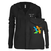 ENZA Ladies Black Light Weight Fleece Full Zip Hoodie-Beloved Community Its Up To Us