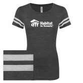 ENZA Ladies Black/White Vintage Triblend Football Tee-