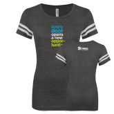 ENZA Ladies Black/White Vintage Football Tee-Every Door Opens A New Opportunity