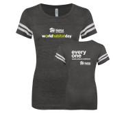 ENZA Ladies Black/White Vintage Football Tee-World Habitat Day