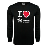 Black Long Sleeve TShirt-I Love Habitat for Humanity