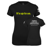 Ladies Syntrel Performance Black Tee-Its up to us
