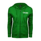 ENZA Ladies Kelly Green Fleece Full Zip Hoodie-