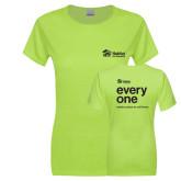 Ladies Junior Fitted Bright Green Sofspun Crew T Shirt-