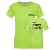 Ladies Junior Fitted Bright Green Sofspun Crew T Shirt-every home