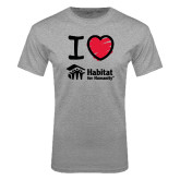 Grey T Shirt-I Love Habitat for Humanity