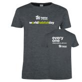 Ladies Dark Heather T Shirt-World Habitat Day