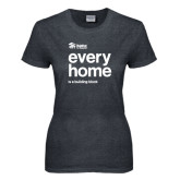 Ladies Dark Heather T Shirt-Every Home Stacked