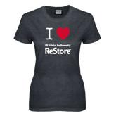 Ladies Dark Heather T Shirt-I Heart Restore