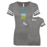 ENZA Ladies Dark Heather/White Vintage Football Tee-Every Door Opens A New Opportunity