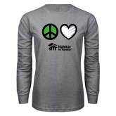 Grey Long Sleeve T Shirt-Peace Love Habitat