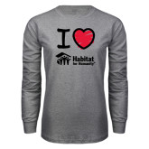 Grey Long Sleeve T Shirt-I Love Habitat for Humanity