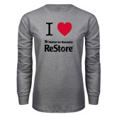 Grey Long Sleeve T Shirt-I Heart Restore