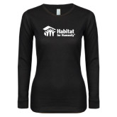 Ladies Black Long Sleeve V Neck Tee-