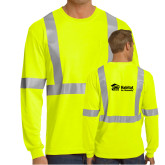 Safety Yellow ANSI 107 Class 2 Safety Long Sleeve T Shirt w/Pocket-